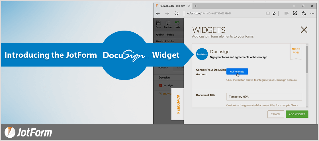 September Newsletter - Introducing the JotForm DocuSign Widget