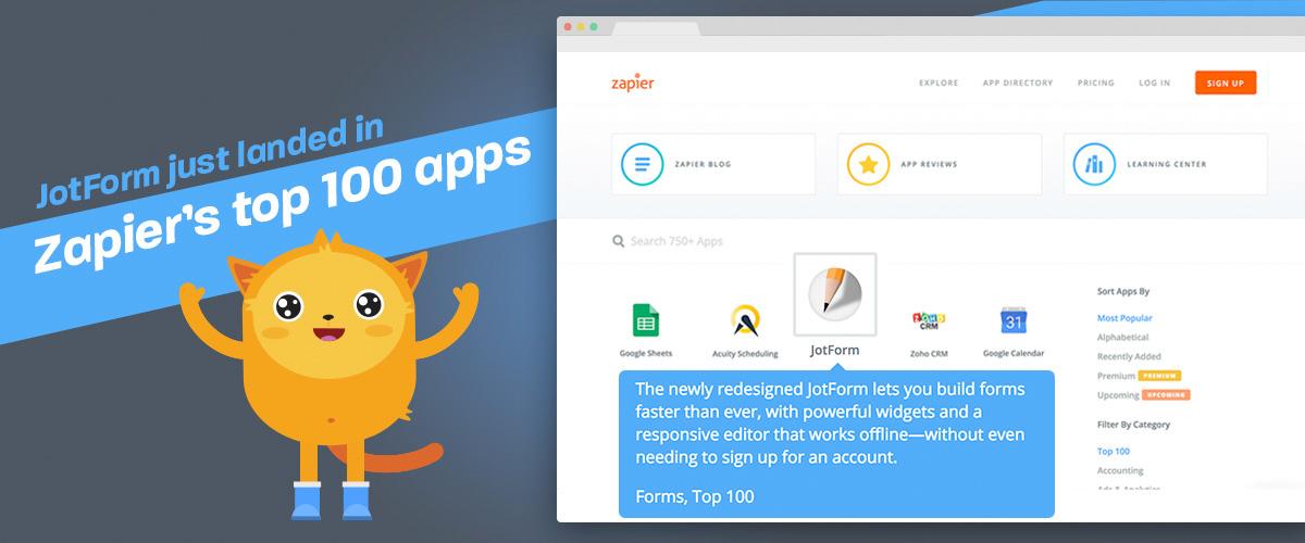 JotForm just landed in Zapier's top 100 apps