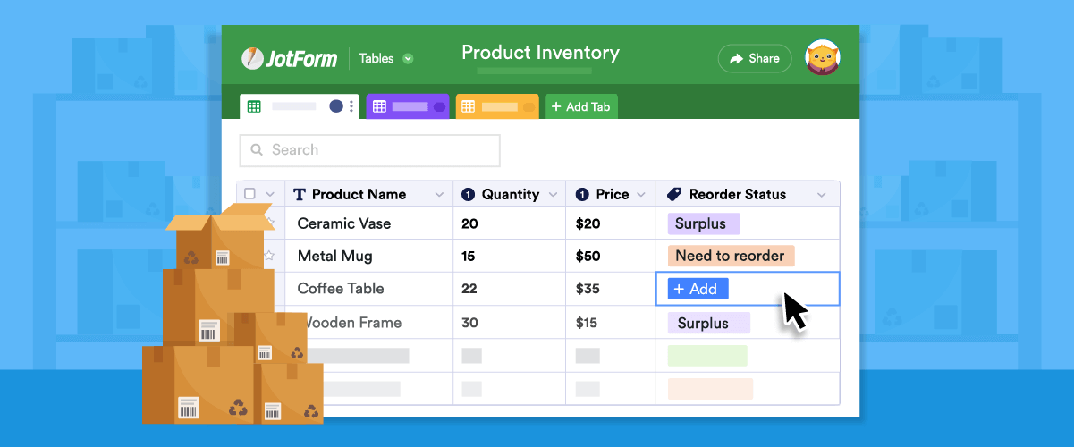 How to manage your year-end inventory with JotForm Tables