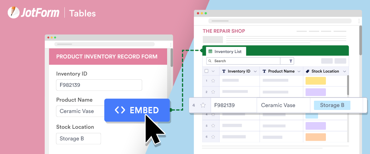 6 embeddable online databases you can create with JotForm Tables
